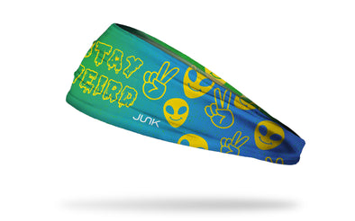 yellow to teal gradient headband with smiley face and stay weird wordmark