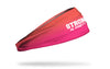 gradient orange to hot pink headband with Strong Is Pretty wordmark in white