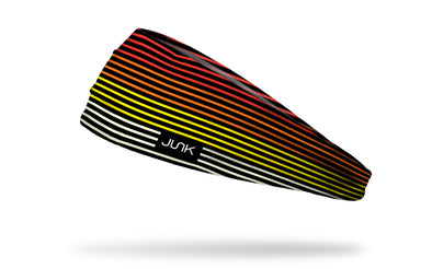 black headband with red yellow orand and white 70's stripes