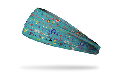 aqua blue green headband with colorful school subjects printed in repeating pattern