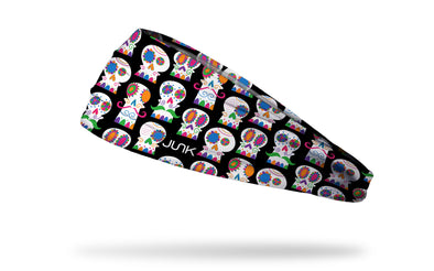 cinco de mayo themed headband repeating pattern of sugar skulls