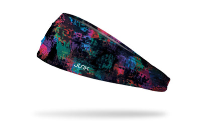 black headband with colorful green pink purple and blue random paint swatches