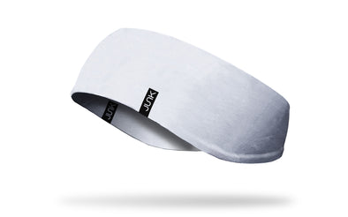 left side view of all white JUNK ear warmer