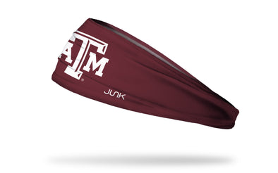 maroon headband with Texas A&M University A T M logo in white
