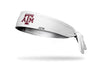 white headband with Texas A&M University A T M logo in white and maroon