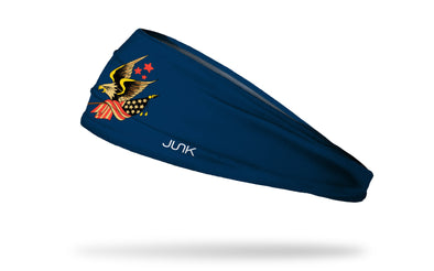 navy headband with graphic of american eagle holding onto american flag