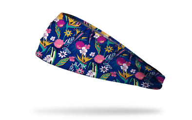 bright blue headband with floral bird of paradise and tropical flower print