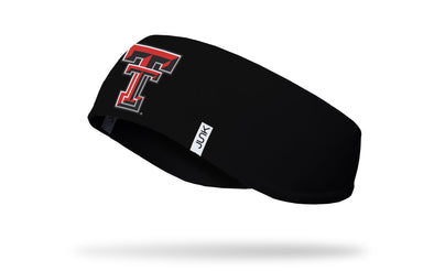 black ear warmer with Texas Tech University T T logo in red