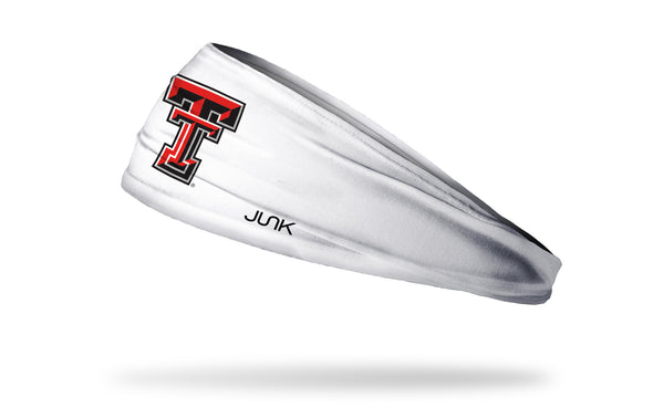 white headband with Texas Tech University T T logo in red