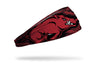 red and black bandana print headband with University of Arkansas razorback logo worked in repeating pattern and big Razorback logo to left in full color