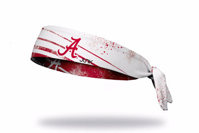 crimson red and white reversible headband with University of Alabama A logo