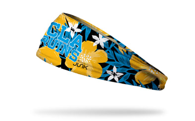 black headband with light blue, white, and gold floral print and University of California, Los Angeles UCLA Bruins wordmark in light blue and white outline