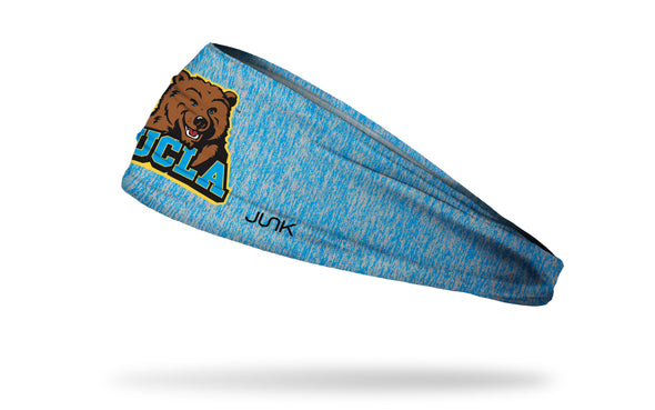 light grey and blue heathered headband with University of California, Los Angeles UCLA Bruins bear over UCLA wordmark logo in full color