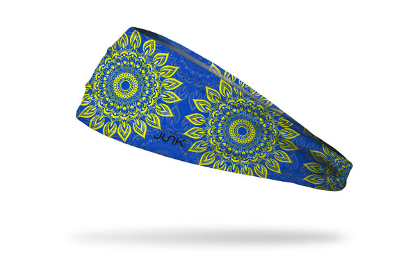 blue headband with lime green mandala pattern