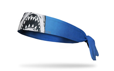 blue headband with giant great white shark mouth from Jaws