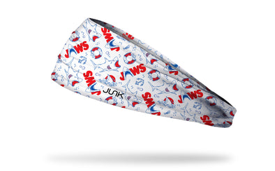 white headband with different cartoon shark symbols and life rafts from the movie Jaws