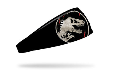 black headband with white oversized Jurassic Park logo