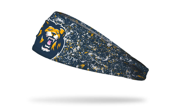 navy paint splatter headband with generic lion mascot in full color