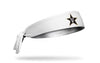 white headband with Vanderbilt University V Star logo in black gold and white
