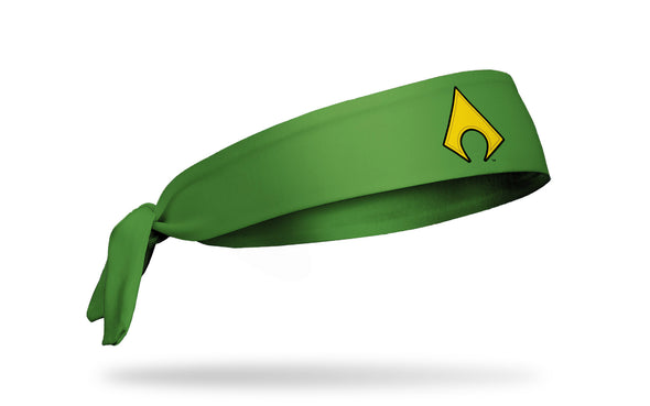 green headband with DC Aquaman main logo front center in full color
