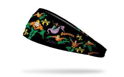 black headband with DC Aquaman full color random pattern of classic hero poses and logos
