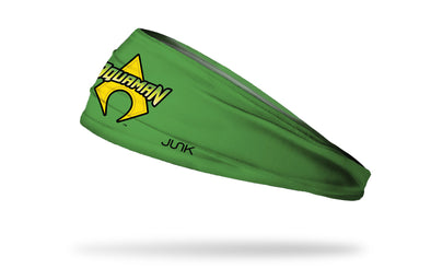 green headband with DC Aquaman wordmark logo in full color