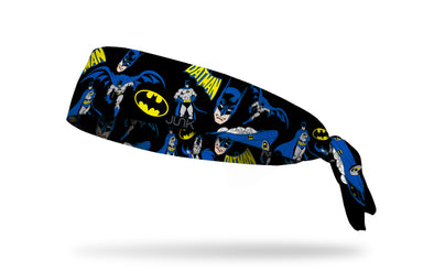 black headband with DC Batman full color random pattern of classic hero poses and logos