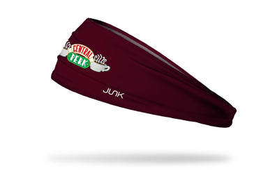 maroon red headband with Central Perk wordmark logo from Friends tv show