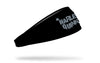 black headband with Harley Quinn wordmark graffiti logo in gray