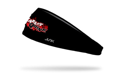 black headband with Harley Quinn grunge wordmark logo in white red and black