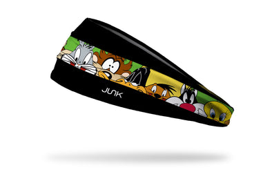 black headband with repeating block line of Looney Tunes characters oversized face view in full color