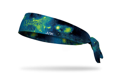 green galaxy print headband with Space Jam Monstars logo in full color