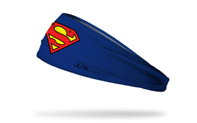 blue headband with DC Superman logo in full color red and yellow