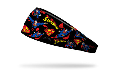 black headband with DC Superman full color random pattern of classic hero poses and logos