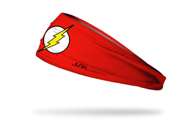 red headband with DC The Flash lightning bolt full color logo in center
