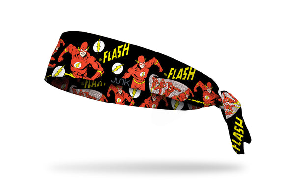 black headband with DC The Flash full color random pattern of classic hero poses and logos