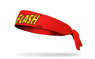 red headband with DC The Flash wordmark logo in yellow