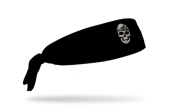 black headband with Goonies skull logo done in map print