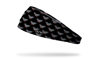 black headband with Wonder Woman WW logo colored like tv static in repeating pattern