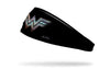 black headband with Wonder Woman WW logo colored like tv static in front center