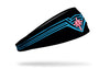 black headband with Wonder Woman crown design in neon blue and red