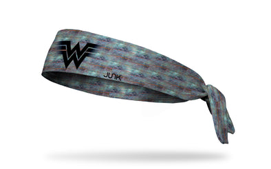 colored tv static headband with Wonder Woman black WW logo in front center