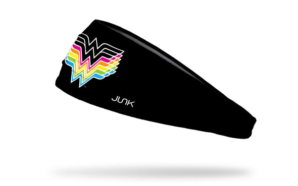 black headband with DC Comic Wonder Woman logo in fading neon colors