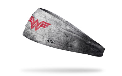 gray headband with black grunge overlay and DC Comics Wonder Woman logo in red
