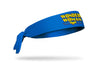 blue headband with DC Wonder Woman classic wordmark logo in full color front center