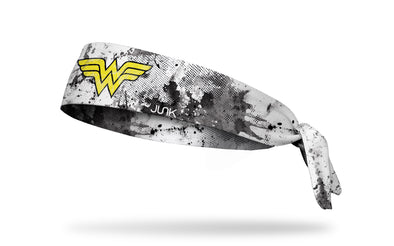white headband with black grunge overlay and DC Comics Wonder Woman logo in yellow