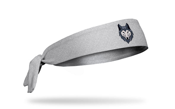 light grey smudge print headband with geometric wolf in center