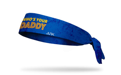 blue headband with grunge overlay and Who's Your Daddy wordmark in yellow and orange