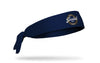 navy headband with circular wordmark in gold and white that reads Will Pedal for Beer