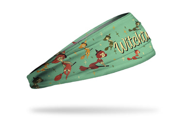 light green headband with pattern of colorful classic witches and Witchin' wordmark